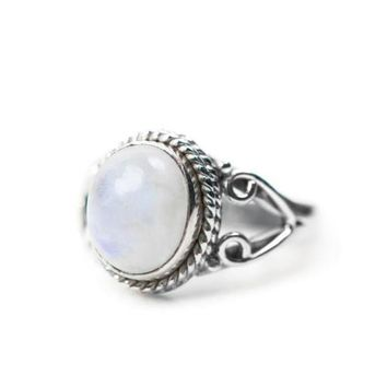 Sterling Silver Roped Heart Design Oval Rainbow Moonstone Ring
