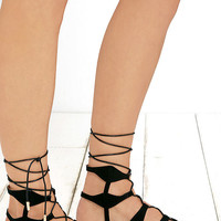 Trail Ways Black Suede Flat Lace-Up Sandals