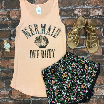 Off Duty Mermaid Tank: Peach