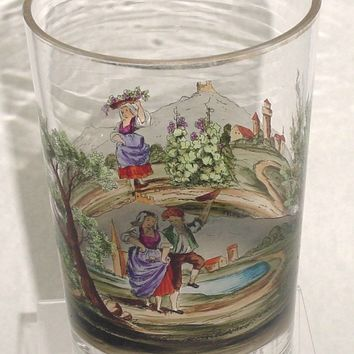 999269 Large Clear Glass W/Painting Around Of Woman Walking & Man &