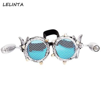 a77f6680c9 LELINTA Blue Lenses Glasses Steampunk Goggles With Two Lights Ra