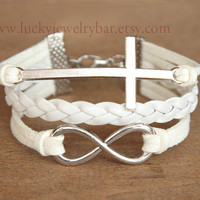 SALE--Cross bracelet,  infinity bracelet, white leather bracelet, bridesmaid bracelet, sweet gift