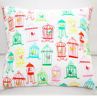 Birds & Cages Pillow Slipcover 18x18 Cotton Envelope