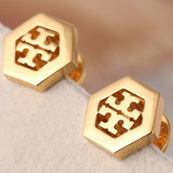 Tory Burch hollow letter logo hexagon geometric stud earrings Gold