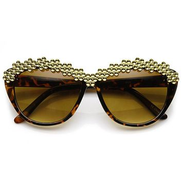 e18cae1dc64 Trendy Womens Glam Rhinestone Studded Fashion Cat Eye Sunglasses