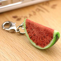Delicious Kawaii Juicy Watermelon Slice Miniature Food Fruit Sample Cell Phone Mobile Charm Strap Jewellery Accessory Necklace 7-FRPM009
