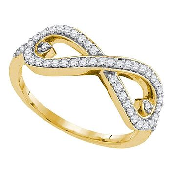 10kt Yellow Gold Women's Round Diamond Infinity Ring 1/3 Cttw - FREE Shipping (US/CAN)