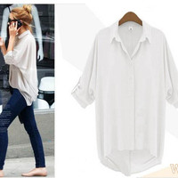 New Women Chiffon Shirt Long Sleeve Turn-down Collar Loose Casual Top Blouse