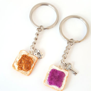Miniature Cute BFF Peanut Butter Grape Jelly Keychain Set with Heart Lock and Key- Best Friend Forever