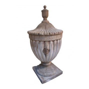Pair of Wood Finials with Fluted Sides