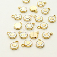 PD-821-GD / 2 Pcs - Mini Round White Enamel Epoxy Charms (Heart), 16K Gold Plated over Brass / 6mm x 8mm
