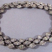 Vintage Sterling Paste Bracelet 1920's Wedding Jewelry Art Deco