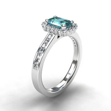 Emerald cut Aquamarine halo engagement ring, diamond ring, white gold engagement, Aquamarine halo, diamond, light blue, vintage, emerald cut