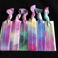 6 Bright Galaxy Tie Dye Hair Ties on Luulla