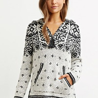 Hooded Geo-Patterned Pullover