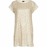 Gold sequin t-shirt dress - dresses - sale - women
