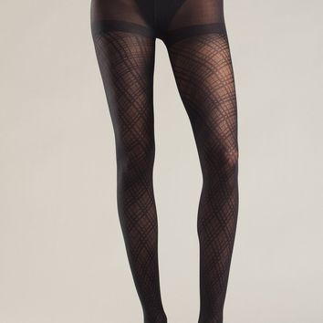 Be Wicked Black Multi Diamond Pattern Tights