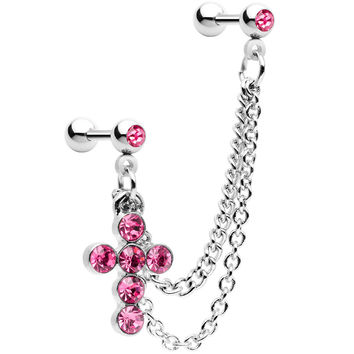 Stainless Steel Pink Cross Lobe to Cartilage Chain Earring