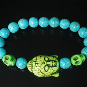 Tibet Buddhism Turquoise Light Green Buddha Skulls Round Baby Blue Beads Prayer Mala Stretchy Bracelet ZZ2244