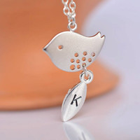 Personalized Bird Necklace, Silver Initial Bird Jewelry, Bird charm, New Mom, Child Necklace, Single Mother's Necklace