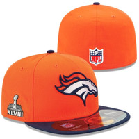 New Era Denver Broncos Super Bowl XLVIII On-Field Side Patch 59FIFTY Fitted Performance Hat - Orange