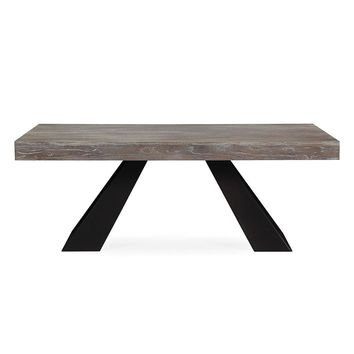 Westwood Industrial Style Elm Dining Table Washed Grey