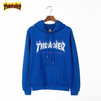 THRASHER Tide brand classic multi-color flame printing letters couple models hooded sweater Blue