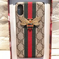 Gucci Bee iPhone7 / 8plus Mobile Shell Diamond Striped Bee 6s Case X Bees + printing