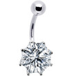 Silver 925 Crystal Cubic Zirconia Hexagon Belly Ring | Body Candy Body Jewelry