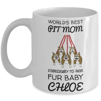 Pitbull Puppy Mug for Dog Lovers: Personalized Pit Dog Name Mug - Cute Inspirational White Mug - Christmas Animal Mug - Beautiful Name Personalized & Customized Mug with Name - Holiday Santa Hot Cocoa, Coffee, Tea Doggy Cup!