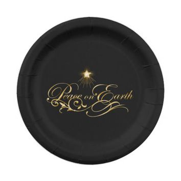 Black with Ornate Gold Peace on Earth Paper Plates  sc 1 st  Wanelo & Shop Black And Gold Paper Plates on Wanelo