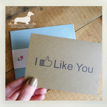 I Like You Note Card Funny Card Humorous Geeky by PickleDogDesign