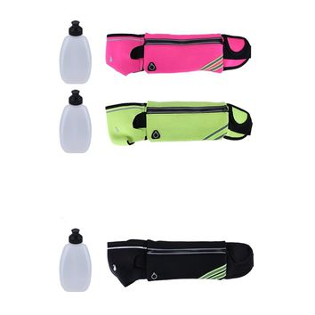 Running Bag Waterproof Nylon Marathon Jogging Waist Belt Bag with 1 Water Bottle Holder Running Accessories 4 colors