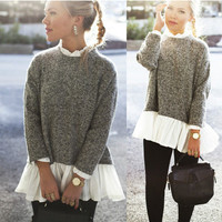 Gray Long Sleeve Knit Sweater with Pleated Hem