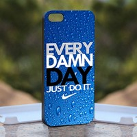 Nike every damn day Blue, Print on Hard Cover iPhone 5 Black Case