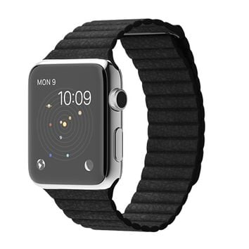 Apple Watch 42mm Stainless Steel Case with Black Leather Loop - Medium