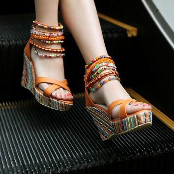 Beaded Bohemian High Heel Wedge Sandals