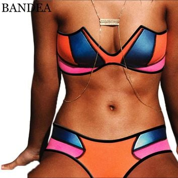BANDEA Sexy Bikini 2017 Low Waist Swimwear women Neoprene Bathing Suit Beach Wear V Neck Swimsuit Patchwork Bikinis Set women