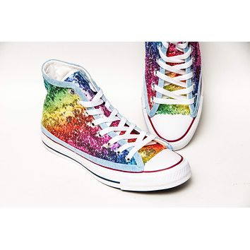 Rainbow Multi Color Starlight Sequin High Top Sneakers