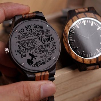 Mom To Son To My Son Wherever Journey In Life Take You Pray Be Safe Enjoy Ride Never Forget Way Home Love Mine Engraved Wooden Watch Gift
