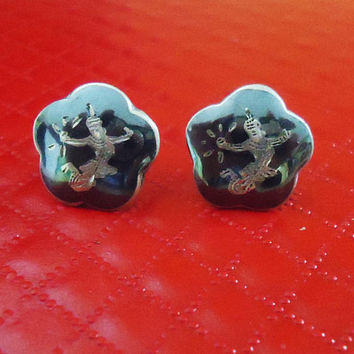 Vintage Siam Sterling Silver Earrings, Wiam Sterling Silver Stud Earrings
