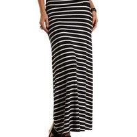 Black/Ivory Striped High-Waisted Maxi Skirt by Charlotte Russe