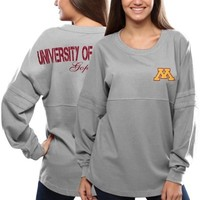 Women's Minnesota Golden Gophers Gray Pom Pom Jersey Oversized Long Sleeve T-Shirt