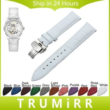 Genuine Leather Watchband Butterfly Clasp Strap for Hamilton Michel Herbelin Wrist Watch Band 18mm 19mm 20mm 21mm 22mm 23mm 24mm