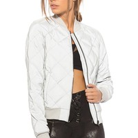 alo Reflective Idol Bomber Jacket in Silver Reflective | REVOLVE