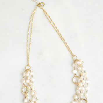 Layered Pearl & Crystal Necklace Gold