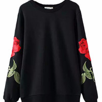 Rose Embroidered Pullover Sweater