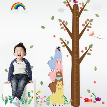 Three alpacas design height of child room wall stickers on the wall stick mobile household wall stick on the wall SM6