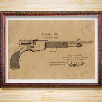 Gun decor Patent print Pistol Blueprint poster