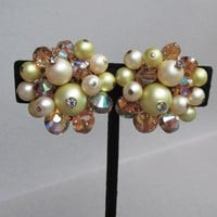 Signed VENDOME 1950's Vintage Faux Pearl & AB Light Topaz Swarovski Aspirin Crystal Bead Earrings